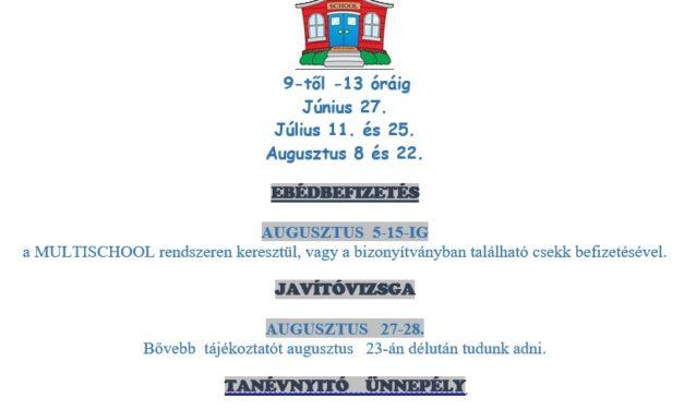 Nyárra vonatkozó információk